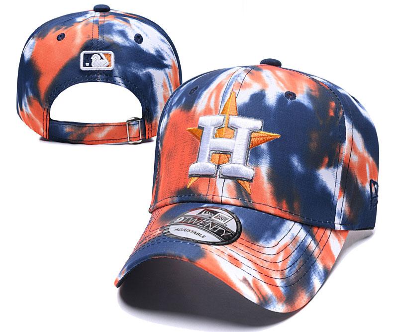 Astros Team Logo Orange Navy Peaked Adjustable Fashion Hat YD
