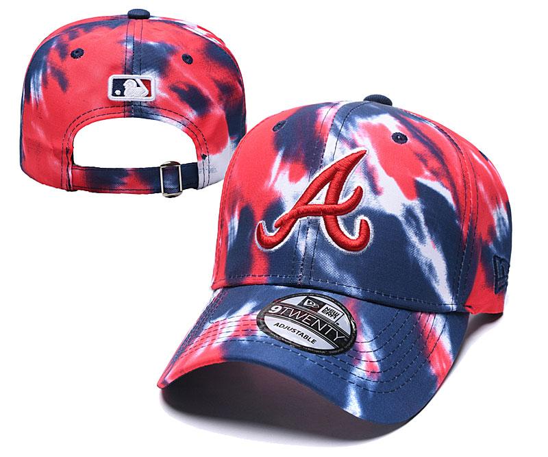 Braves Team Logo Red Navy Peaked Adjustable Fashion Hat YD