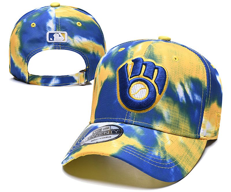 Brewers Team Logo Blue Yellow Peaked Adjustable Fashion Hat YD