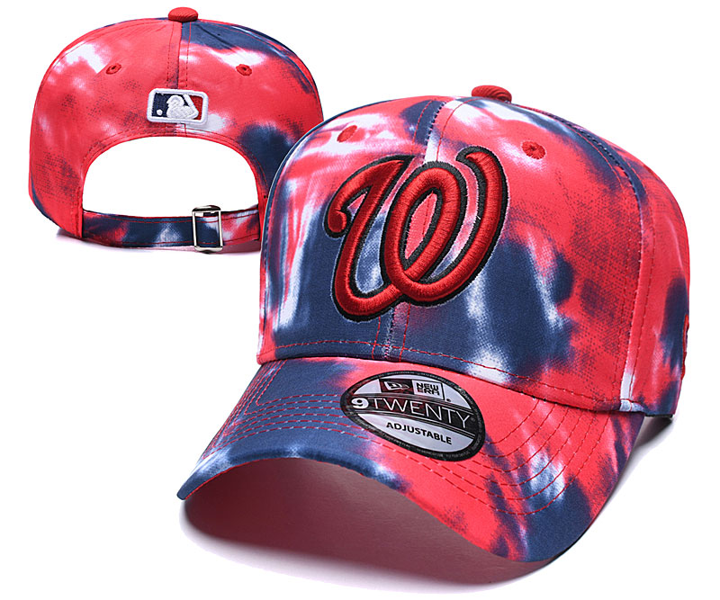 Nationals Team Logo Red Black Peaked Adjustable Fashion Hat YD