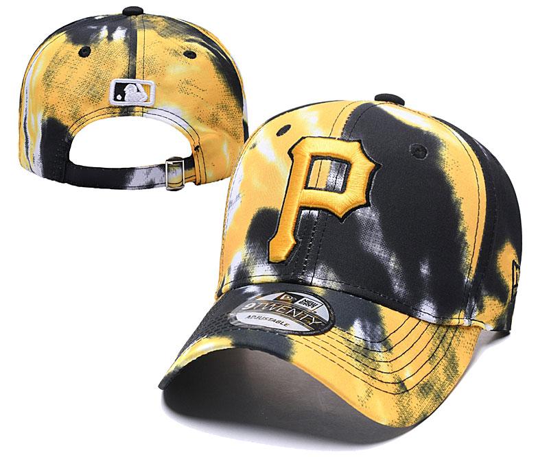 Pirates Team Logo Yellow Black Peaked Adjustable Fashion Hat YD