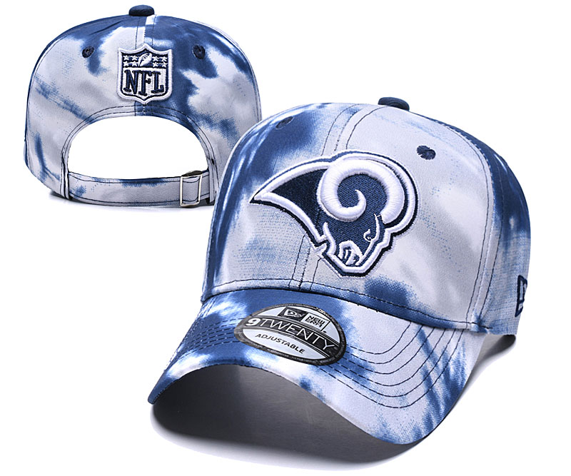 Rams Team Logo Navy White Peaked Adjustable Fashion Hat YD