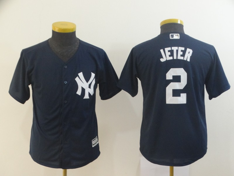 Yankees 2 Derek Jeter Navy Youth Cool Base Jersey
