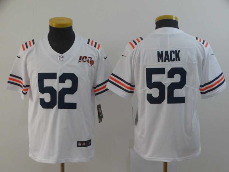 Nike Bears 52 Khalil Mack White Youth 2019 100th Season Alternate Classic Vapor Untouchable Limited Jersey