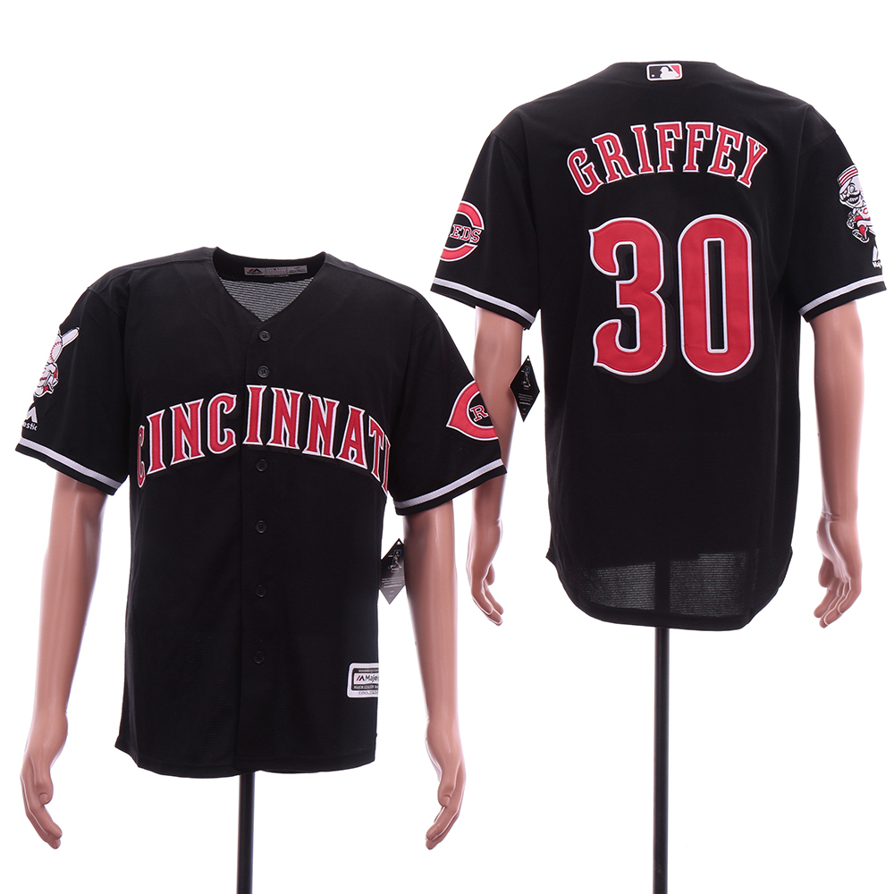 Reds 30 Ken Griffey Jr Black Cool Base Jersey