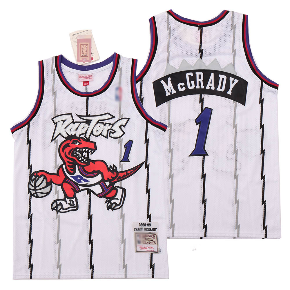 Raptors 1 Tracy McGrady White 1998-99 Hardwood Classics Jersey