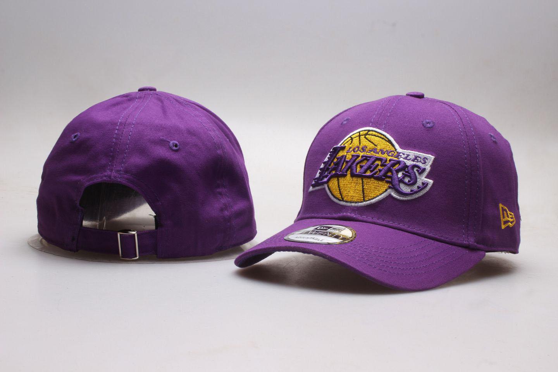 Lakers Team Logo Purple Adjustable Hat YP