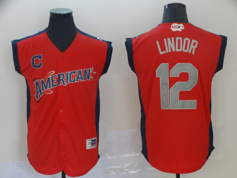 American League 12 Francisco Lindor Red 2019 MLB All Star Game Workout Player Jersey