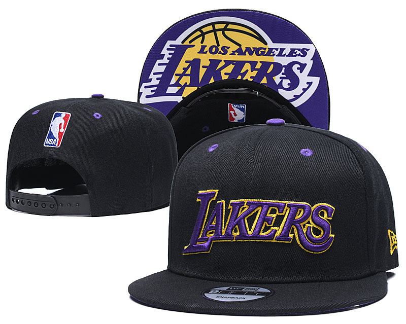 Lakers Team Logo Black Adjustable Hat TX