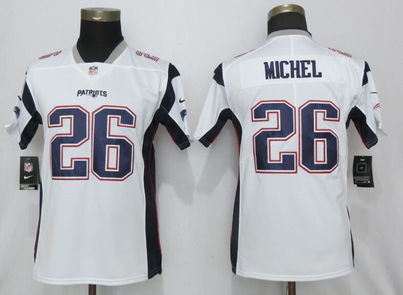 Nike Patriots 26 Sony Michel White Women Vapor Untouchable Limited Jersey