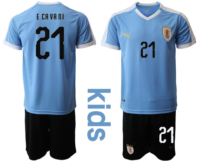 2019-20 Uruguay 21 E.CAVANI Youth Home Soccer Jersey