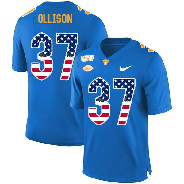 Pittsburgh Panthers 37 Qadree Ollison Blue USA Flag 150th Anniversary Patch Nike College Football Jersey