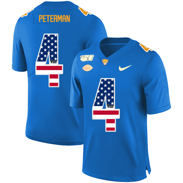 Pittsburgh Panthers 4 Nathan Peterman Blue USA Flag 150th Anniversary Patch Nike College Football Jersey