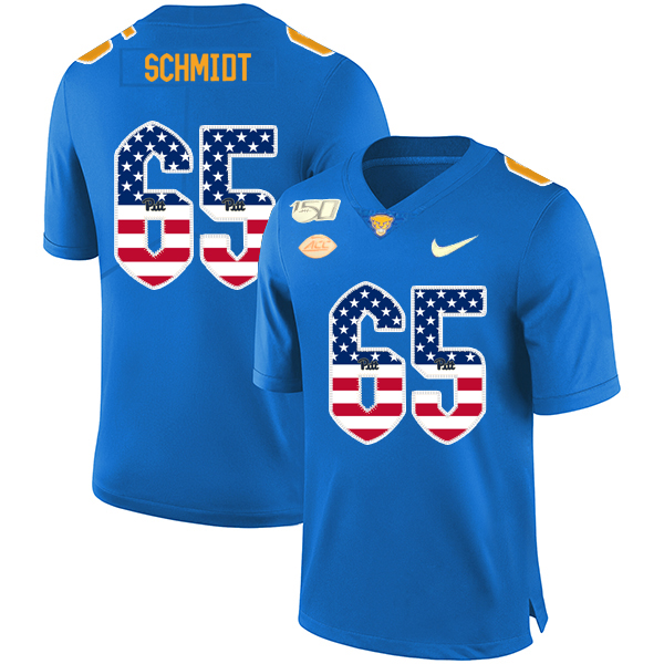 Pittsburgh Panthers 65 Joe Schmidt Blue USA Flag 150th Anniversary Patch Nike College Football Jersey