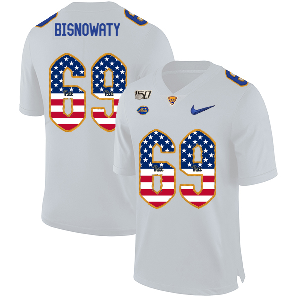 Pittsburgh Panthers 69 Adam Bisnowaty White USA Flag 150th Anniversary Patch Nike College Football Jersey