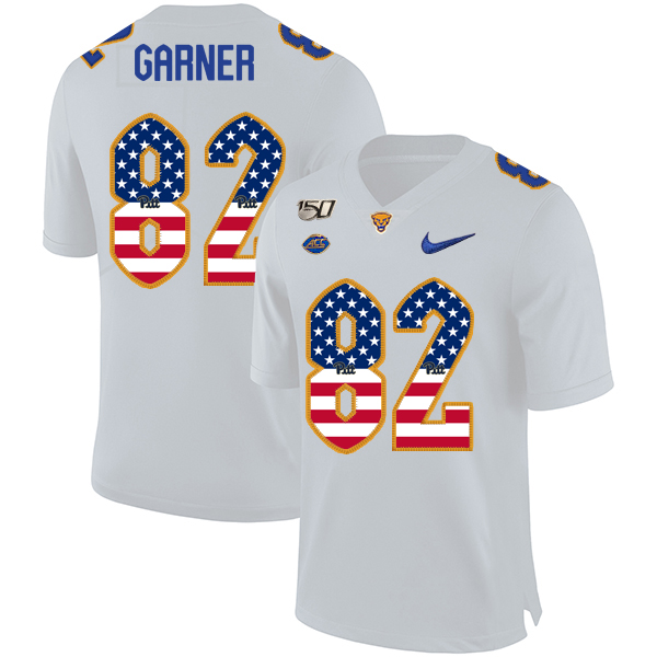 Pittsburgh Panthers 82 Manasseh Garner White USA Flag 150th Anniversary Patch Nike College Football Jersey