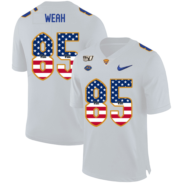Pittsburgh Panthers 85 Jester Weah White USA Flag 150th Anniversary Patch Nike College Football Jersey