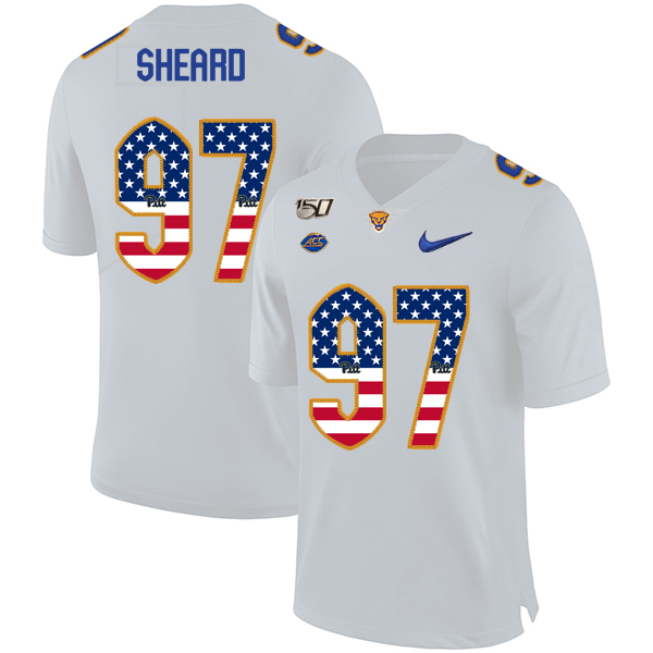 Pittsburgh Panthers 97 Jabaal Sheard White USA Flag 150th Anniversary Patch Nike College Football Jersey