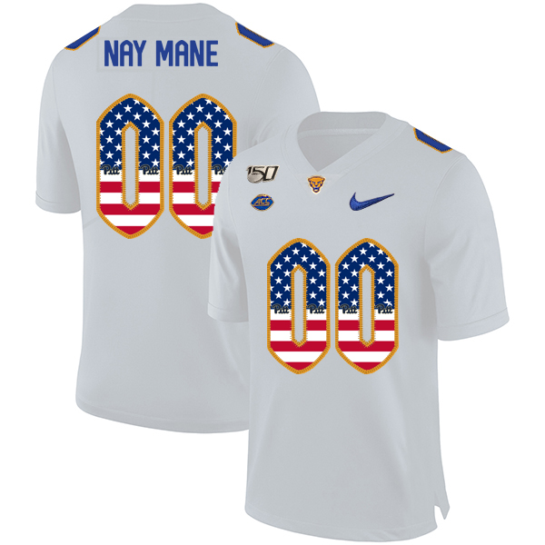 Pittsburgh Panthers Customized White USA Flag 150th Anniversary Patch Nike College Football Jersey