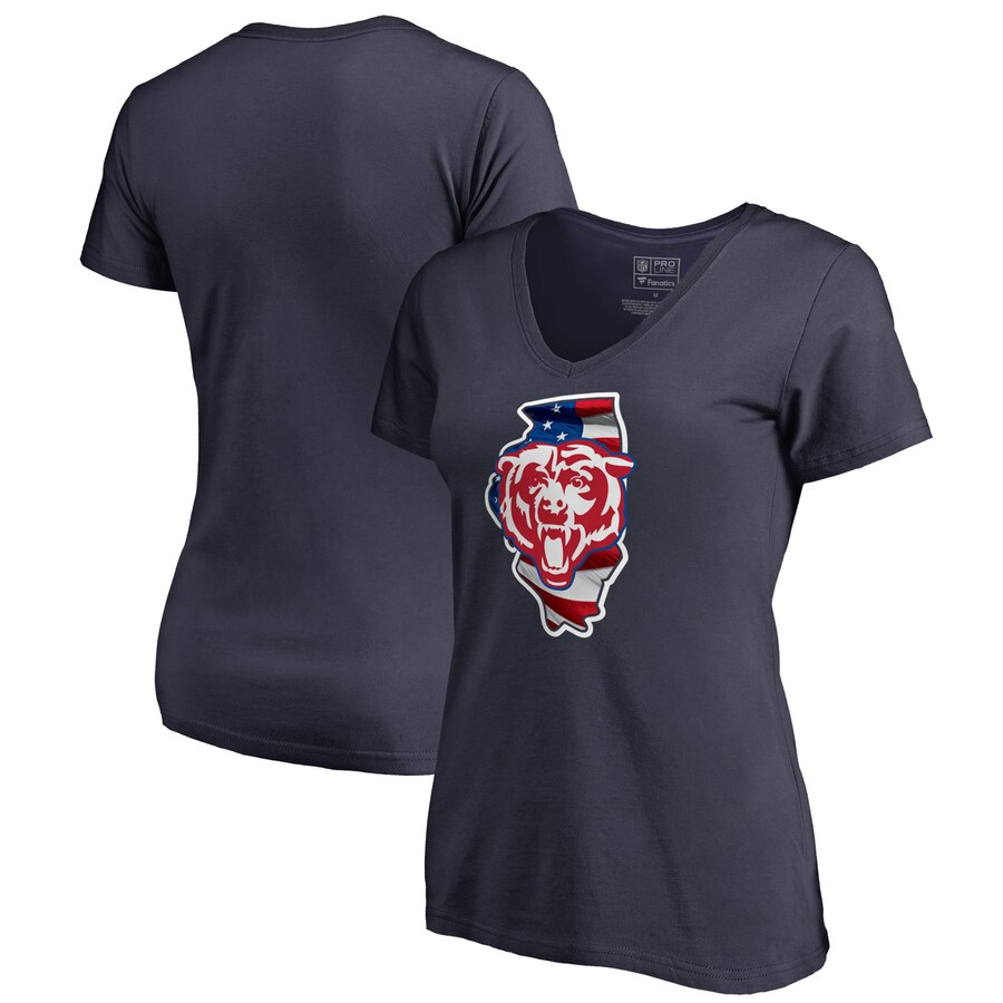 Chicago Bears NFL Pro Line by Fanatics Branded Women's Plus Size Banner State V Neck T-Shirt Navy