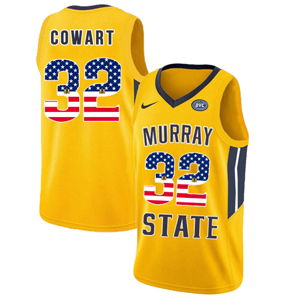 Murray State Racers 32 Darnell Cowart Yellow USA Flag College Basketball Jersey