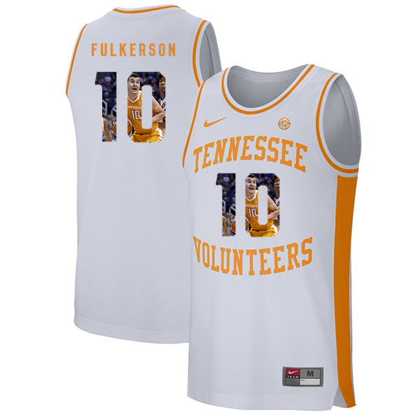 Tennessee Volunteers 10 John Fulkerson White Fashion College Basketball Jersey