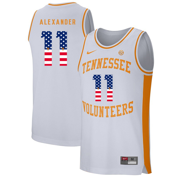Tennessee Volunteers 11 Kyle Alexander White USA Flag College Basketball Jersey