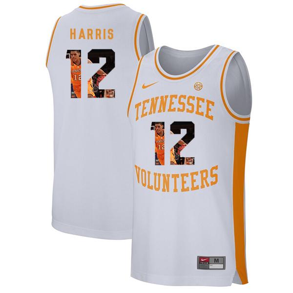 Tennessee Volunteers 12 Tobias Harris White Fashion College Basketball Jersey