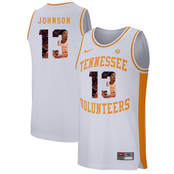 Tennessee Volunteers 13 Jalen Johnson White Fashion College Basketball Jersey