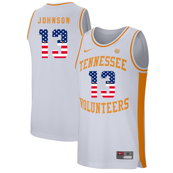 Tennessee Volunteers 13 Jalen Johnson White USA Flag College Basketball Jersey