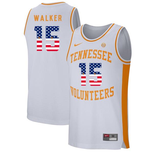 Tennessee Volunteers 15 Derrick Walker White USA Flag College Basketball Jersey