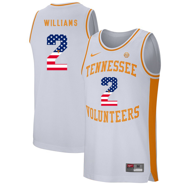 Tennessee Volunteers 2 Grant Williams White USA Flag College Basketball Jersey