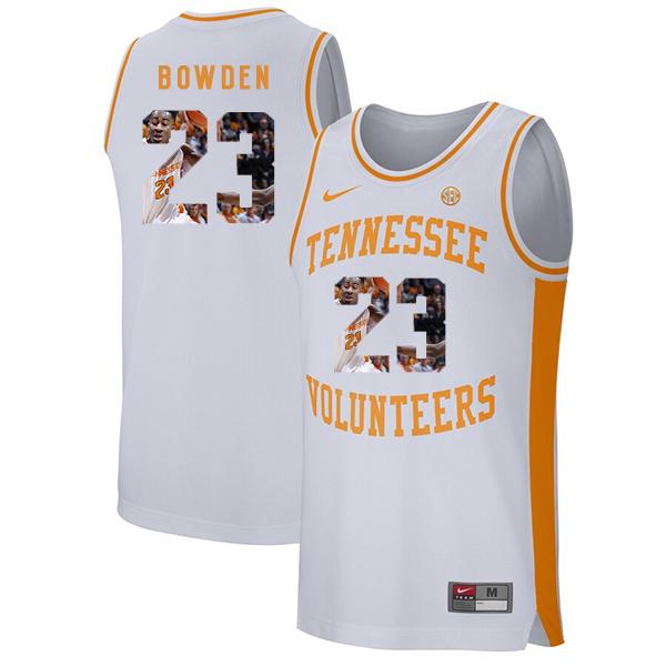 Tennessee Volunteers 23 Jordan Bowden White Fashion College Basketball Jersey