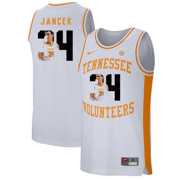 Tennessee Volunteers 34 Brock Jancek White Fashion College Basketball Jersey