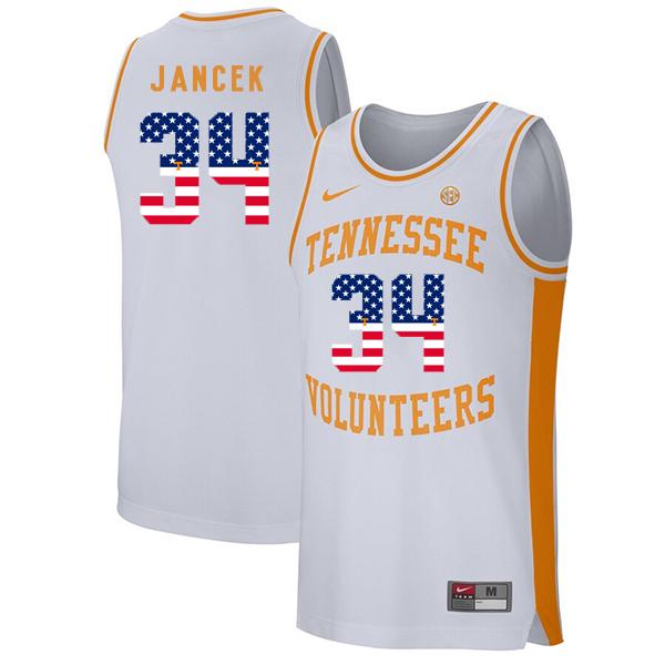 Tennessee Volunteers 34 Brock Jancek White USA Flag College Basketball Jersey