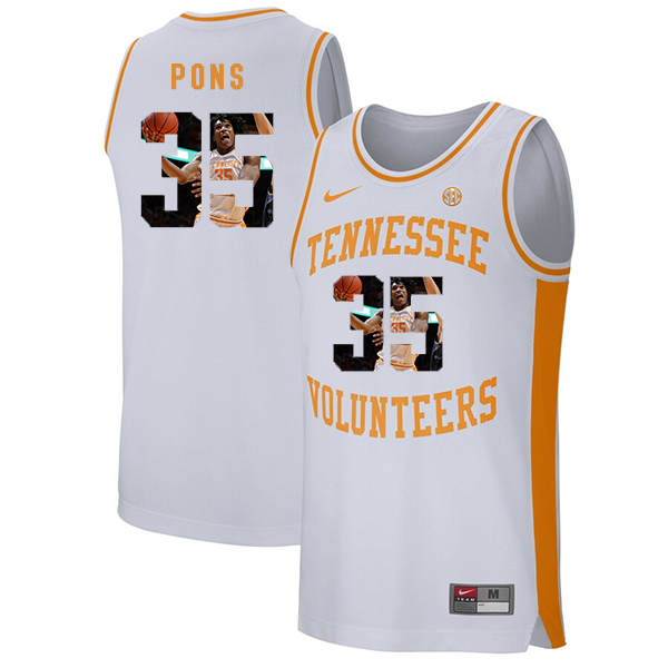Tennessee Volunteers 35 Yves Pons White Fashion College Basketball Jersey