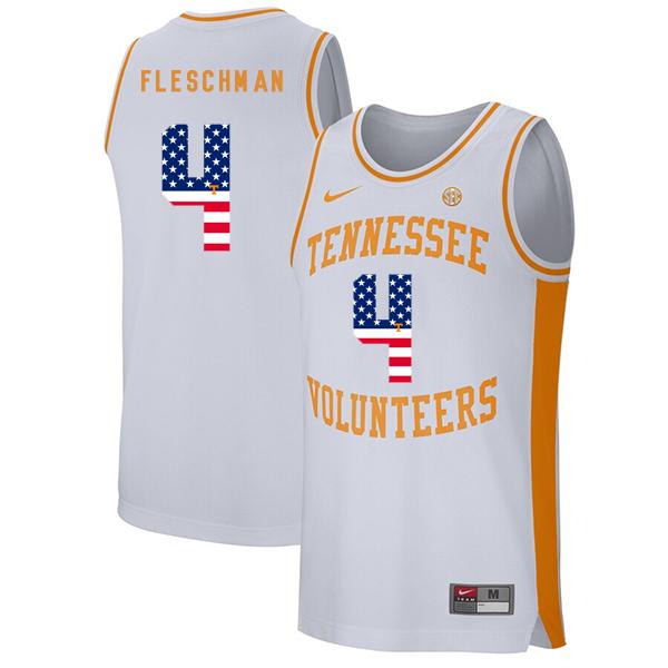 Tennessee Volunteers 4 Jacob Fleschman White USA Flag College Basketball Jersey