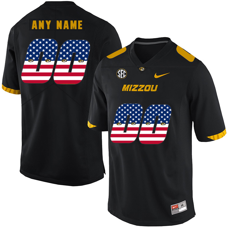 Missouri Tigers Customized Black USA Flag Nike College Football Jersey