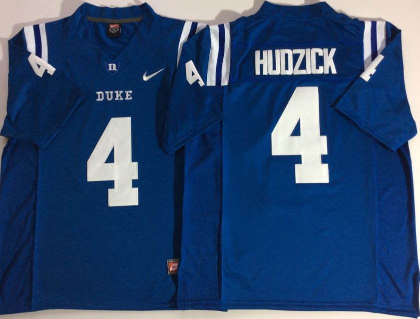 Duke Blue Devils 4 Myles Hudzick Blue College Football Jersey