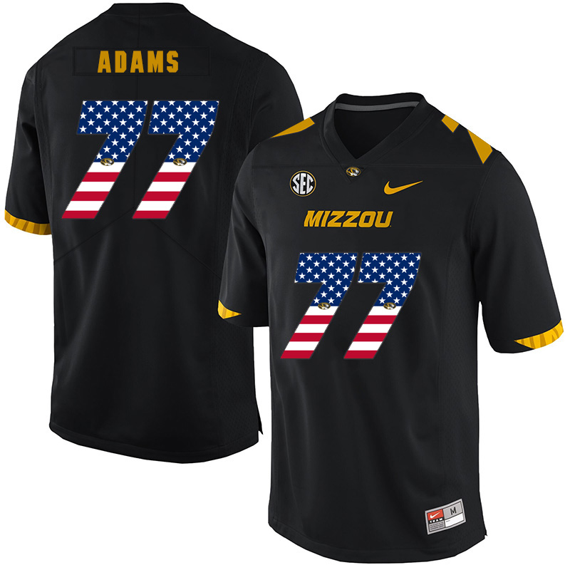 Missouri Tigers 77 Paul Adams Black USA Flag Nike College Football Jersey