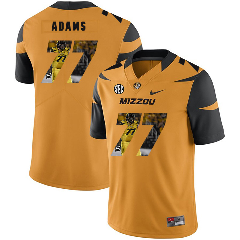 Missouri Tigers 77 Paul Adams Gold Nike Fashion College Football Jersey