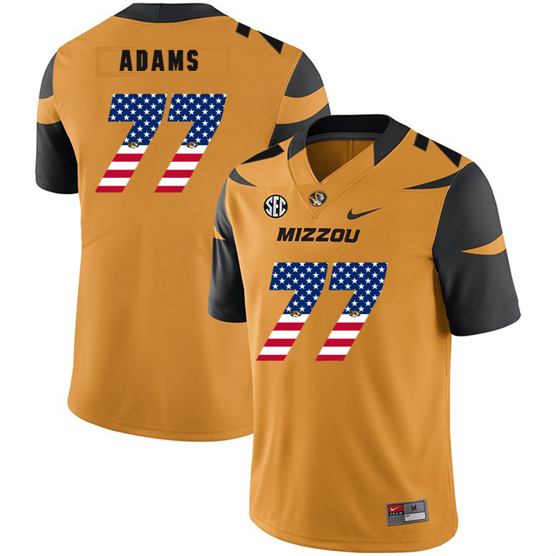 Missouri Tigers 77 Paul Adams Gold USA Flag Nike College Football Jersey