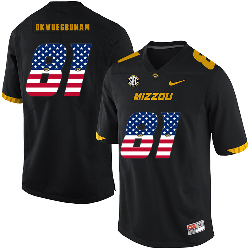 Missouri Tigers 81 Albert Okwuegbunam Black USA Flag Nike College Football Jersey