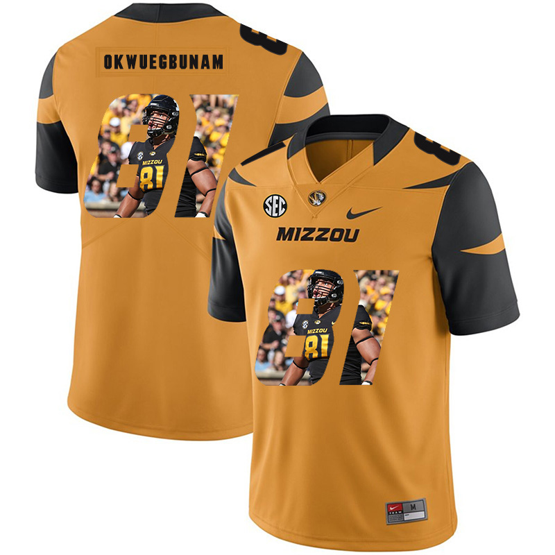 Missouri Tigers 81 Albert Okwuegbunam Gold Nike Fashion College Football Jersey
