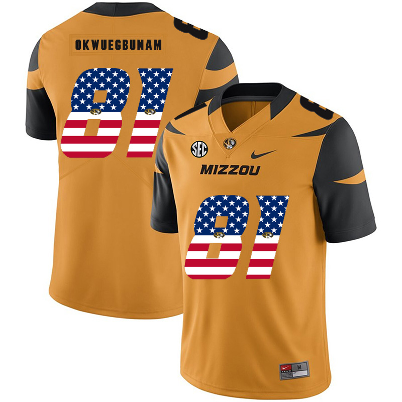 Missouri Tigers 81 Albert Okwuegbunam Gold USA Flag Nike College Football Jersey