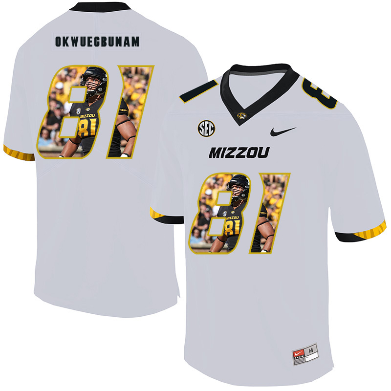 Missouri Tigers 81 Albert Okwuegbunam White Nike Fashion College Football Jersey