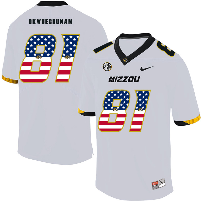 Missouri Tigers 81 Albert Okwuegbunam White USA Flag Nike College Football Jersey