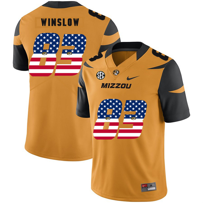 Missouri Tigers 83 Kellen Winslow Gold USA Flag Nike College Football Jersey