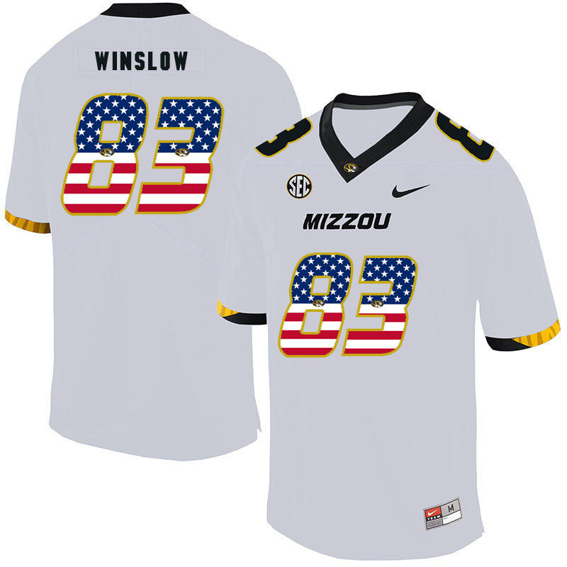 Missouri Tigers 83 Kellen Winslow White USA Flag Nike College Football Jersey