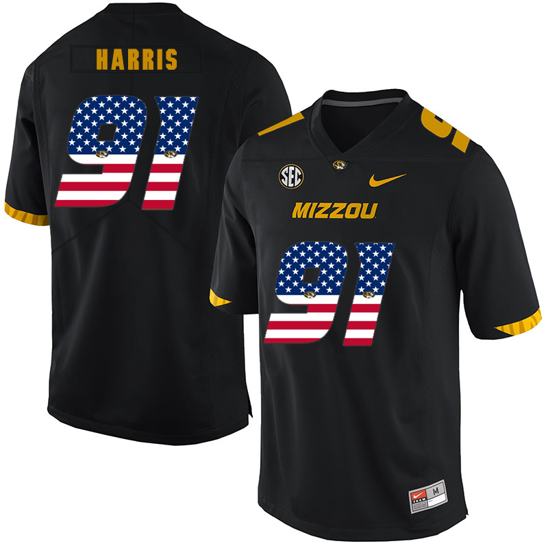 Missouri Tigers 91 Charles Harris Black USA Flag Nike College Football Jersey